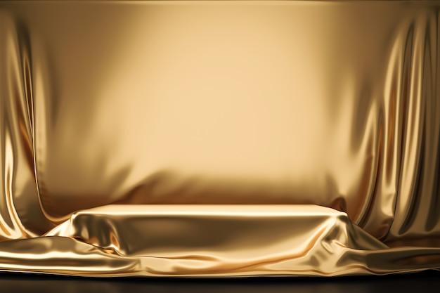 Tejido o tela lujosa dorada colocada en el pedestal superior o en el estante del podio en blanco en la pared de oro con concepto de lujo. fondos de museo o galería para producto. representación 3d