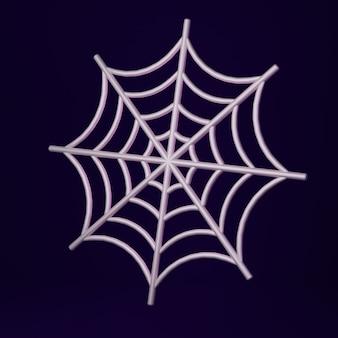 Tela de araña redonda de dibujos animados sobre fondo oscuro 3d render