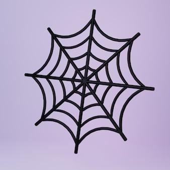 Tela de araña redonda de dibujos animados sobre fondo oscuro ilustración 3d