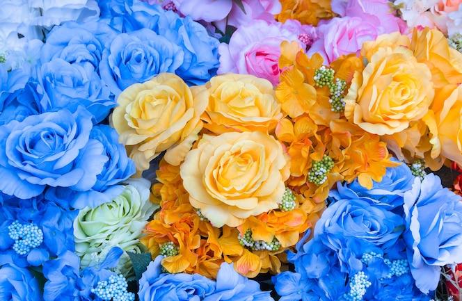 Tela hermosa rosa ramo de flores de fondo