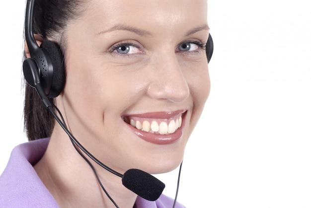 Telefonista sonriente