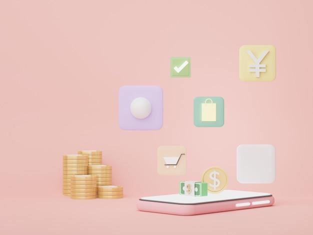 Teléfono 3d con conceptos de dinero, planificación financiera, compras en línea, franquicias de gestión de patrimonio