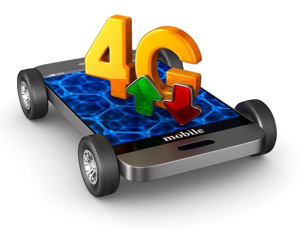 Teléfono 4g en espacios en blanco. ilustración 3d aislada