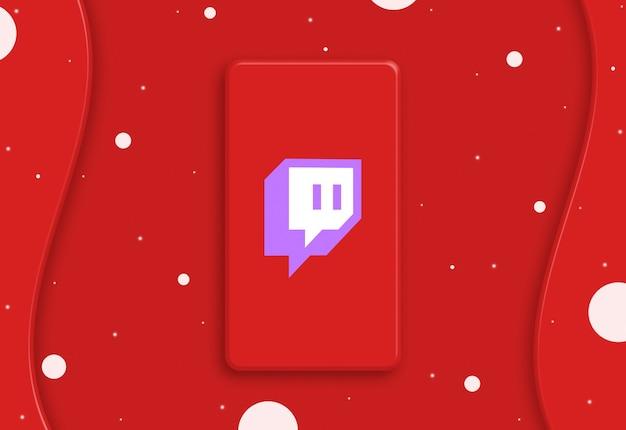 Teléfono abstracto con el icono del logotipo de twitch en la pantalla 3d