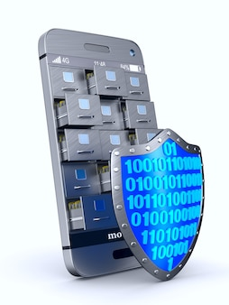 Teléfono con archivador y escudo en espacios en blanco. ilustración 3d aislada