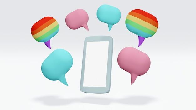 Un teléfono con bocadillos en arco iris como color azul y rosa lgbt concepto de opinión diferente