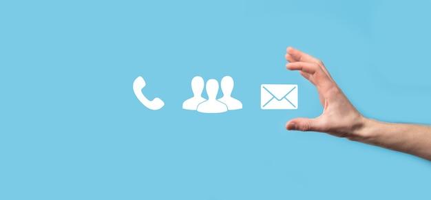 Teléfono, correo electrónico, contacto de teléfono de cubo de bloque de madera