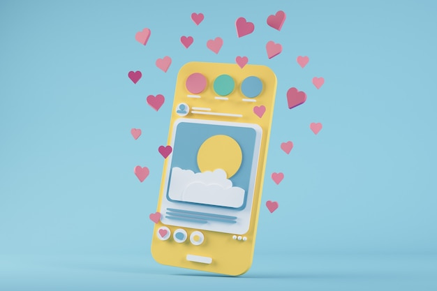 Teléfono de dibujos animados de redes sociales rodeado de me gusta renderizado 3d