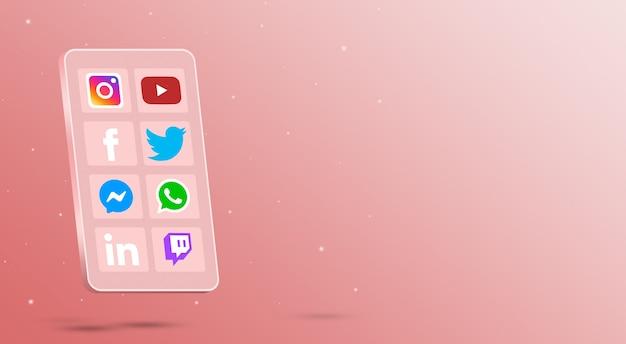 Teléfono con iconos de aplicaciones de redes sociales en la pantalla 3d