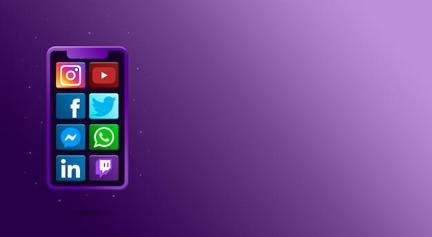 Teléfono con iconos de redes sociales 3d