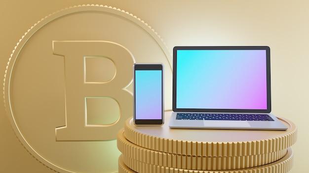 El teléfono inteligente móvil y la computadora portátil se colocan en las monedas de oro con el fondo del texto de la moneda b. imagen de ilustración de renderizado 3d.