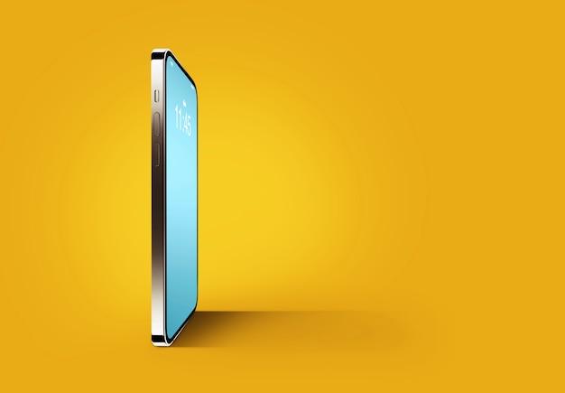 Teléfono inteligente móvil moderno con fondo de pantalla del planeta tierra sobre fondo amarillo. copie el espacio para el texto y el diseño.
