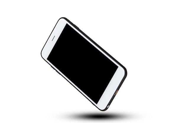 Teléfono inteligente móvil en la tecnología de fondo blanco