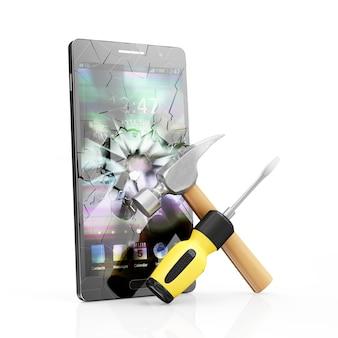 Teléfono inteligente negro con pantalla rota y destornillador de símbolo de reparación