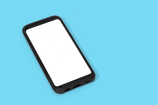 Teléfono inteligente con pantalla en blanco sobre fondo azul. simulacros de plantilla. copia espacio