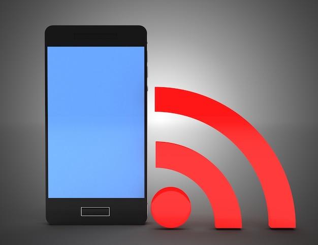 Teléfono inteligente de red wifi. ilustración 3d