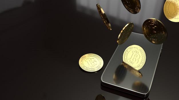 Teléfono inteligente y representación 3d de bitcoin para el concepto de negocio.