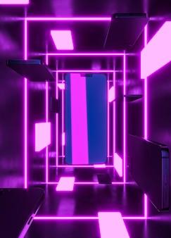 Teléfono moderno en luz neón púrpura