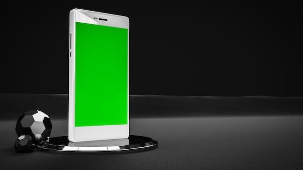 Teléfono móvil en color blanco y negro y pantalla verde