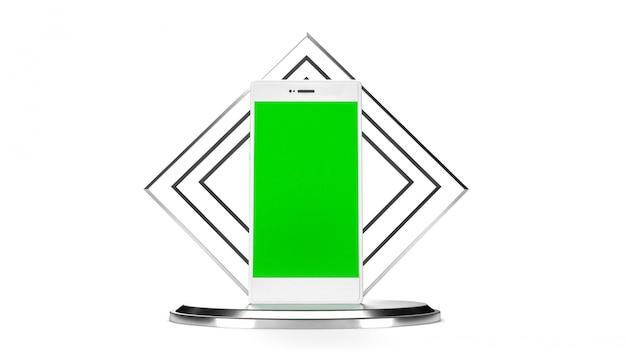 Teléfono móvil en color blanco con pantalla verde.