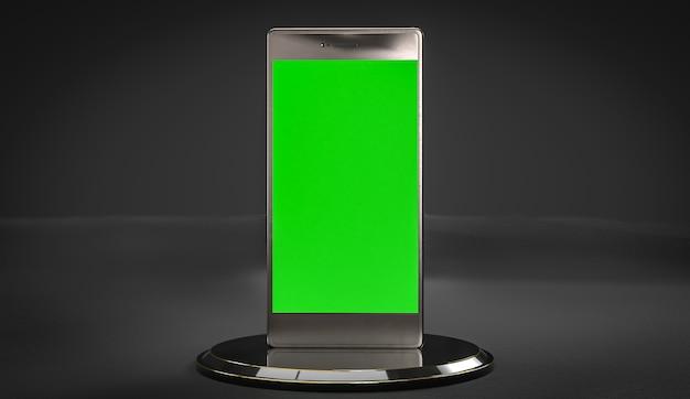 Teléfono móvil en color negro y pantalla verde
