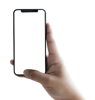 Teléfono nuevo smartphone de tecnología con pantalla en blanco y marco moderno con menos diseño