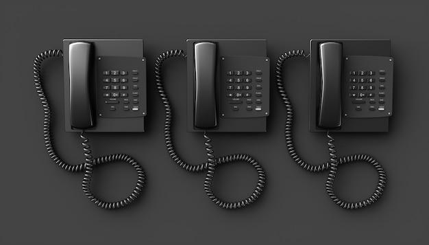 Teléfono residencial negro sobre un fondo negro, ilustración 3d
