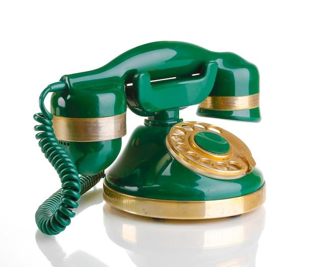 Teléfono retro en blanco