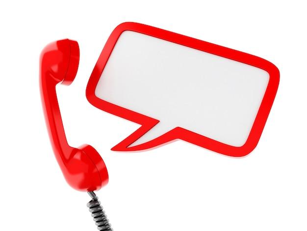 Teléfono rojo 3d y bocadillo en blanco.