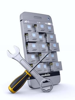 Teléfono de servicio con archivador en espacios en blanco. ilustración 3d aislada