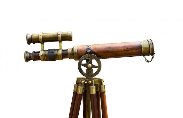 Telescopio de latón antiguo