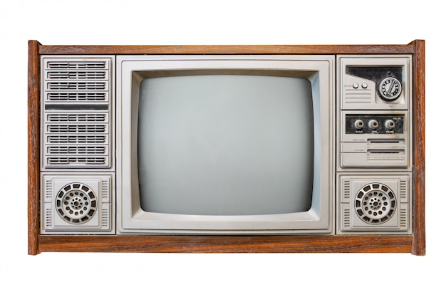 Televisión antigua caja de madera aislada en blanco con trazado de recorte para objeto