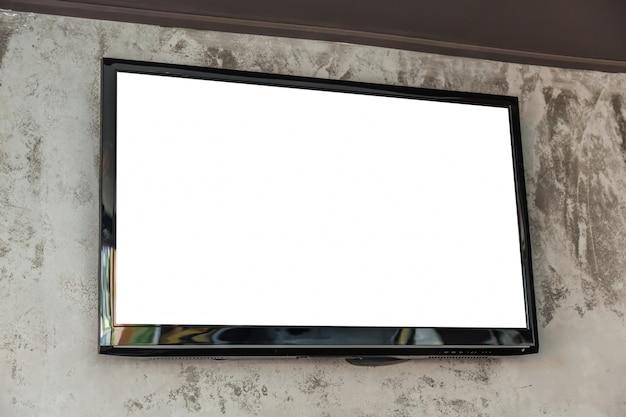 Televisión grande con pantalla en blanco