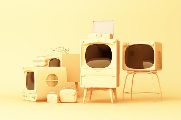 Televisores antiguos y reproductor de radio vintage sobre un fondo amarillo. representación 3d