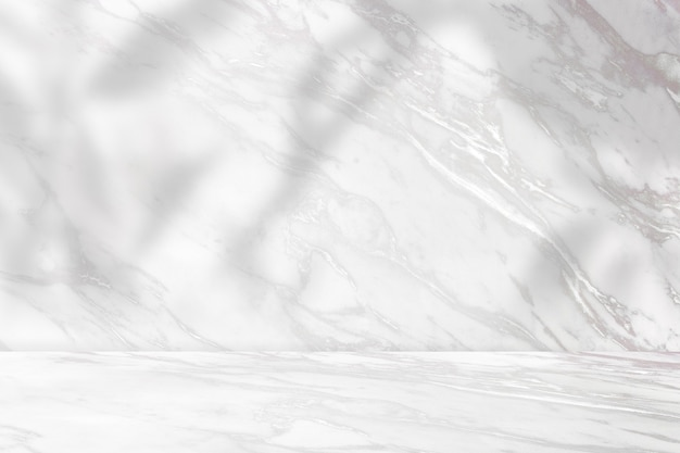 Telón de fondo de producto de mármol con sombra vegetal