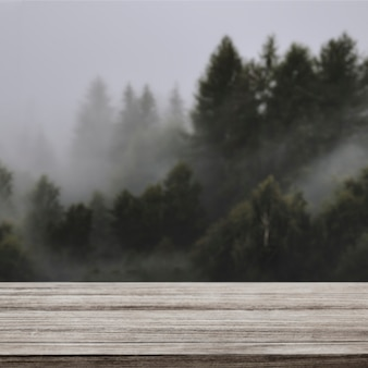 Telón de fondo de productos de la naturaleza, pino y montaña.