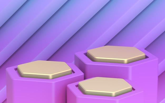 Telón de fondo para sus bienes. escaparate dorado de tres niveles. plan lejano púrpura