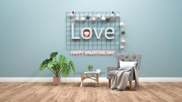 Tema del día de tarjetas del día de san valentín con el texto ligero en la pared. representación 3d