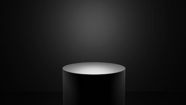 Tema oscuro del podio negro 3d elegante para la presentación del producto con luz minimalista