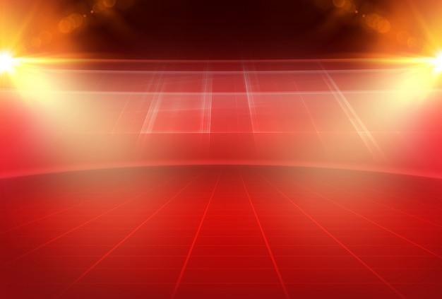 Tema rojo abstracto espacio de estudio 3d vacío con destello de lente y rejilla rectangular en el suelo