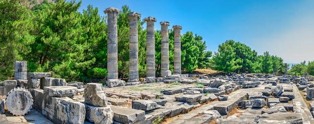 El templo de atenea polias en la antigua priene, turquía