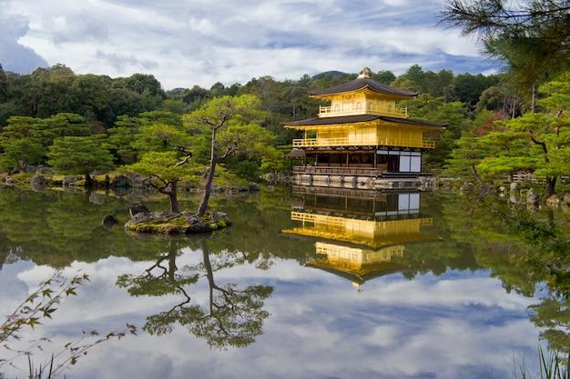 Templo dorado cerca del hermoso lago