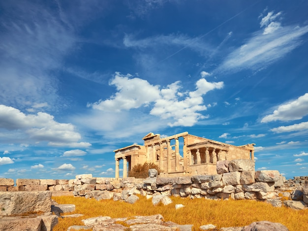 Templo erecteion acrópolis, atenas, grecia