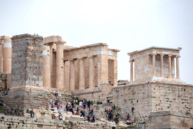 Templo del partenón en la acrópolis de atenas, en el centro de atenas, grecia Foto Premium