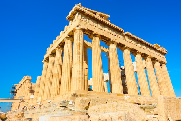 El templo del partenón en la acrópolis, atenas, grecia