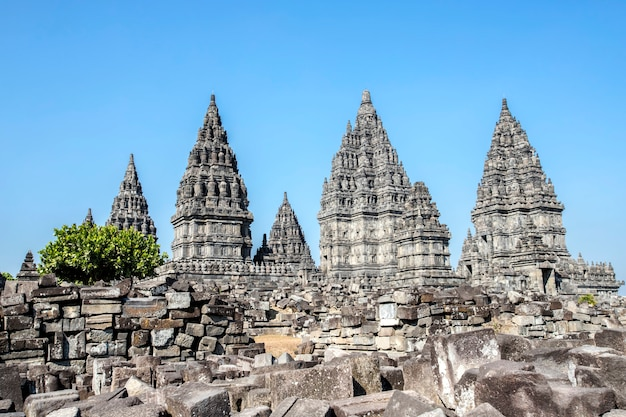 Templo de prambanan, yogyakarta en la isla de java, indonesia