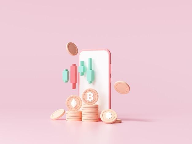 Tendencia de comercio de criptomonedas y crecimiento, bitcoin subiendo todo el tiempo con gráfico, inversión de bitcoin en concepto de teléfono inteligente. ilustración de render 3d