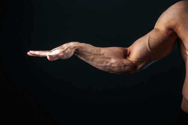 Tenso brazo, venas, músculos culturista sobre un fondo oscuro, aislar