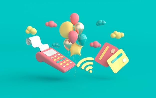 Terminal pos tarjeta de crédito globos símbolo wifi nubes render