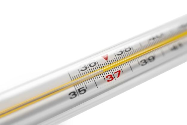 Un termómetro de mercurio muestra una temperatura humana normal